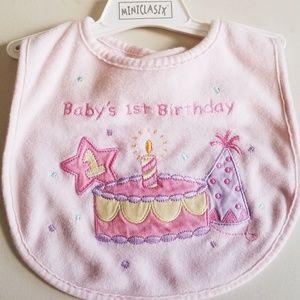 NWT Pink Girl Baby's 1st Birthday Bib
